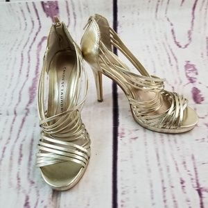 Chinese Laundry Heels Sz 8 / 39 Gold Zipper Back